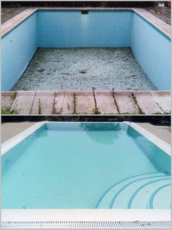 Piscina antes y después de reformar y reparar